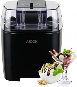 Aicok Sorbetière Électrique 1,5L Machine à Glace Sorbetière Refrigerante Pour Crème Glacée, Sorbet et Yaourt...